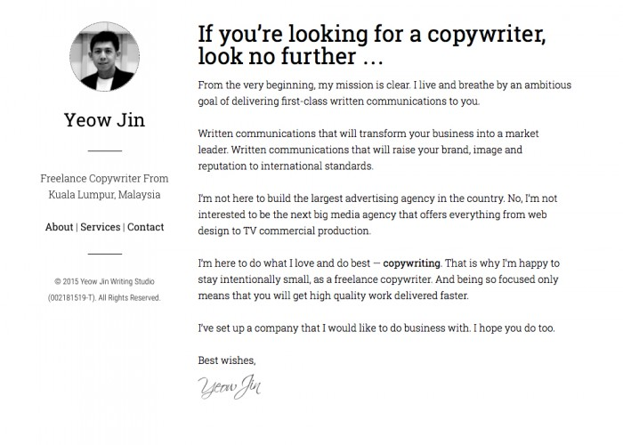 Yeow Jin — Freelance Copywriter, Malaysia