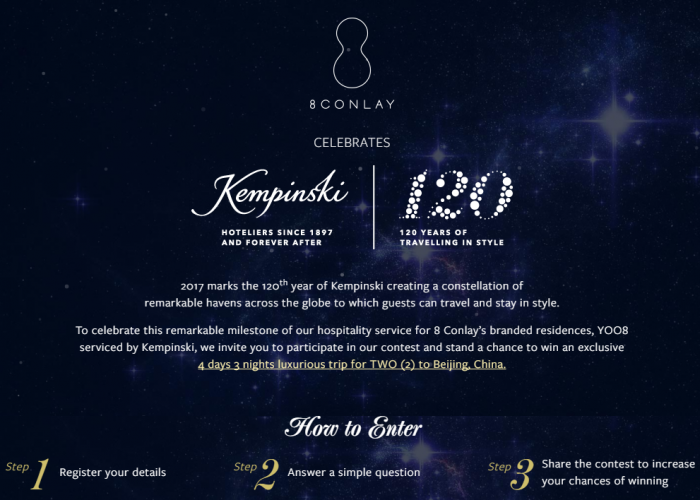 8 Conlay Celebrating Kempinski 120th Anniversary Contest