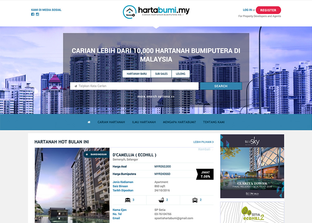 Property portal targeting bumi units
