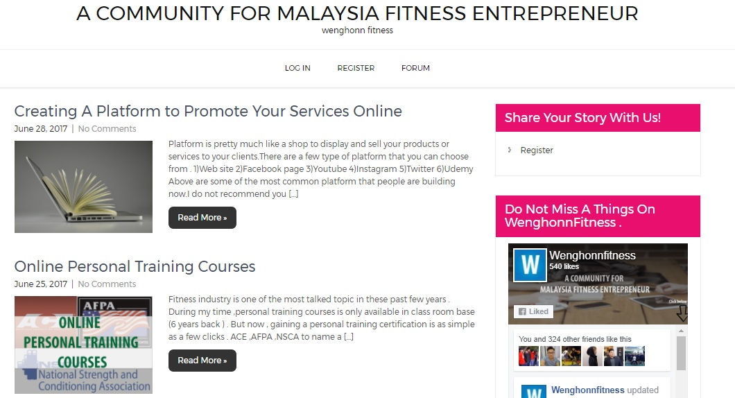 A COMMUNITY FOR MALAYSIA FITNESS ENTREPRENEUR