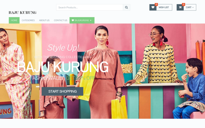 eCommerce Affiliate Website For Baju Kurung
