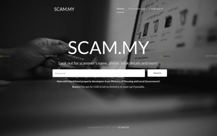 SCAM MY - Check scammer's details in Malaysia! - Malaysia Website